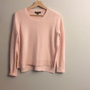 Split side BR pink cotton crewneck sweater